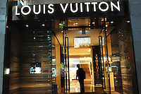 French designer Louis Vuitton in Japanese up-market shopping district  Ginza, Tokyo, Japan.<br /> April-2014