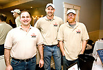 WINSTED, CT-020618JS15-- Niles Johnson; Matthew Day and Nathan Day, all from Little Red Barn Brewers in Winsted, at the Friends of Main Street's annual Bubbles and Truffles wine, beer and chocolate tasting event held at Crystal Peak Banquet Hall in Winsted. A portion of this years proceeds will go toward playing for the installation of a new playground at the Pearson School. <br /> Jim Shannon Republican-American