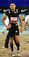 Leichtathletik - DHM 2009 Deutsche Hallenmeisterschaften - ARENA Leipzig - Track and Field - im Bild: Dreisprung Männer - Der Sieger Charles Friedek (Leverkusen) nach einem ungültigen Versuch fassungslos in der Grube..Foto: Norman Rembarz..Norman Rembarz, Holbeinstr. 14, 04229 Leipzig, Hypo-Vereinsbank, BLZ: 86020086, Kto: 357889472, Ust. ID.: DE 256991963 St. Nr.: 231/261/06432 !!!!!!  Honorar zuzüglich 7 % Mwst !!!!!!!!