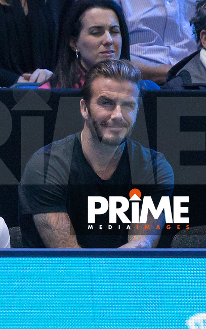 David Beckham watches as Djokovic wins 6-3 6-3 during the Barclays ATP World Tour Finals Semi Final 1 match between RAFAEL NADAL and NOVAK DJOKOVIC at the O2, London, England on 21 November 2015. Photo by Andy Rowland.