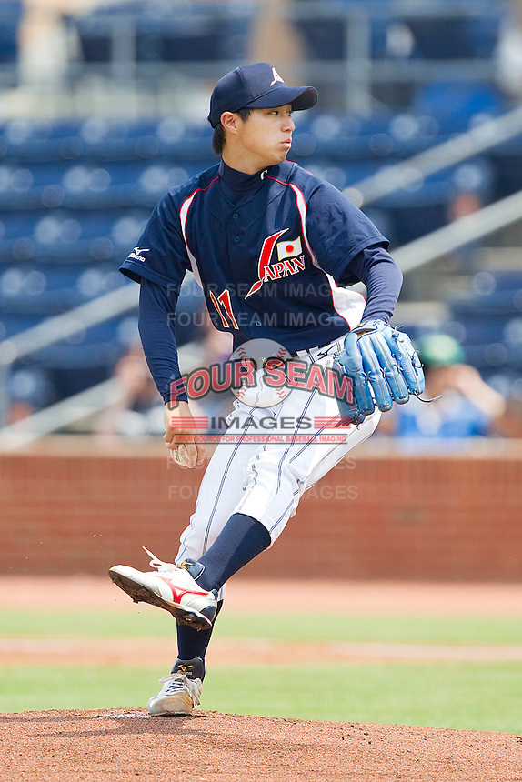 Starting pitcher Yusuke Nomura #11 of the Japan Collegiate National Team in action against the USA Baseball Collegiate National Team at the Durham Bulls Athletic Park on July 3, 2011 in Durham, North Carolina.  USA defeated Japan 7-6.  (Brian Westerholt / Four Seam Images)
