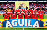 CALI - COLOMBIA, 22- 04-2018: Los jugadores de América, posan para una foto, durante partido entre America de Cali y Atlético Junior, de la fecha 17 por la Liga Aguila I 2018 jugado en el estadio Pascual Guerrero de la ciudad de Cali. / The players of America, pose for a photo, during a match between America de Cali and Atletico Junior, of the 17th date for the Liga Aguila I 2018 at the Pascual Guerrero stadium in Cali city. Photo: VizzorImage / Nelson Rios / Cont.