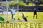 Desmonds keeper Stephen Bartlett gets down fast to save a Bryan Sheehan penalty in Cahersiveen on Sunday.