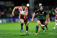 Jonny May of Gloucester Rugby accelerates past Tom Waldrom of Exeter Chiefs to score a late try during the European Rugby Challenge Cup semi final match between Gloucester Rugby and Exeter Chiefs at Kingsholm Stadium on Saturday 18th April 2015 (Photo by Rob Munro)