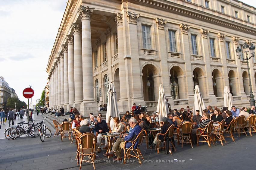 A cafe. Le Grand Theatre theatre and opera house on Place De La Comedie. Bordeaux city, Aquitaine, Gironde, France