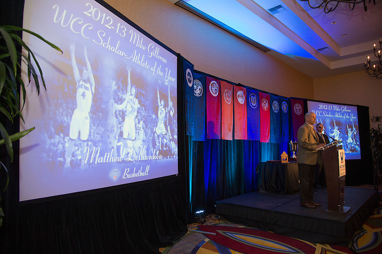 June 5, 2013; Napa, CA, USA; Saint Mary's Gaels athletic director Mark Orr speaks after receiving the Mike Gilleran WCC Male Scholar-Athlete of the Year award, accepting on behalf of basketball player Matthew Dellavedova (not pictured) during the WCC Honors Dinner at the Napa Valley Marriott.