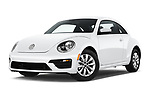 Stock pictures of low aggressive front three quarter view of a 2019 Volkswagen Beetle S 5 Door Hatchback