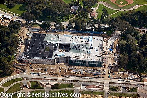 aerial photograph construction of San Francisco Academy of Sciences Museum Golden Gate Park San Francisco