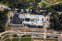 aerial photograph construction of San Francisco Academy of Sciences Museum Golden Gate Park San Francisco