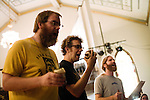 September 14, 2010.  Durham, North Carolina.. Brad Cook, Phil Cook and Joe Westerlund.. Day One of Sounds of the South, a reinterpretation of Alan Lomax's field recordings, with music by Megafaun, Fight the Big Bull, Sharon Van Etten and Justin Vernon of Bon Iver..