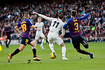 FC Barcelona's Jordi Alba (L) and Gerard Pique (R) and Real Madrid's Gareth Bale during La Liga match between FC Barcelona and Real Madrid at Camp Nou Stadium in Barcelona, Spain. October 28, 2018. (ALTERPHOTOS/A. Perez Meca)