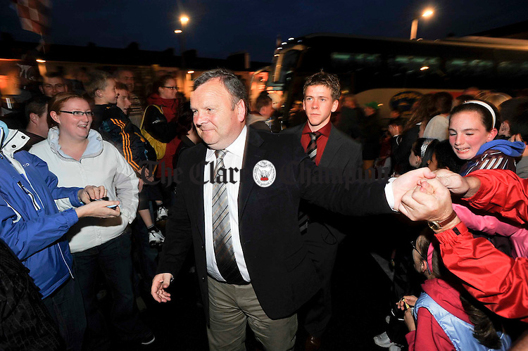 Team manager Mattie Murphy is greeted by the crowd as he arrives at the Victorious Galway Minors All-Ireland homecoming at Gort. Photograph by John Kelly.