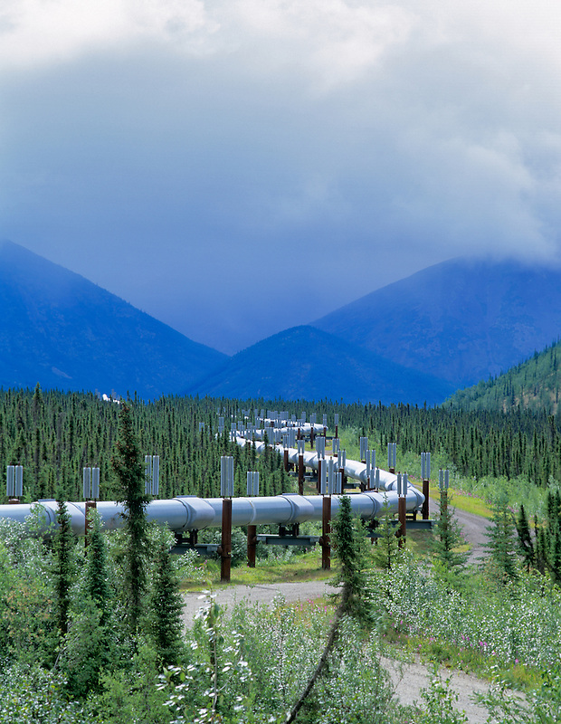 Oil pipeline and storm. Near Coldfoot, Alaska