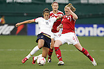 10 May 2008: Carli Lloyd (USA) (11) and Sophie Schmidt (CAN) (6) challenge for the ball. The United States Women's National Team defeated the Canada Women's National Team 6-0 at RFK Stadium in Washington, DC in a women's international friendly soccer match.