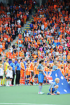 The Hague, Netherlands, June 15: Players of The Netherlands line up prior to the national anthem before the field hockey gold match (Men) between Australia and The Netherlands on June 15, 2014 during the World Cup 2014 at Kyocera Stadium in The Hague, Netherlands. Final score 6-1 (2-1)  (Photo by Dirk Markgraf / www.265-images.com) *** Local caption ***