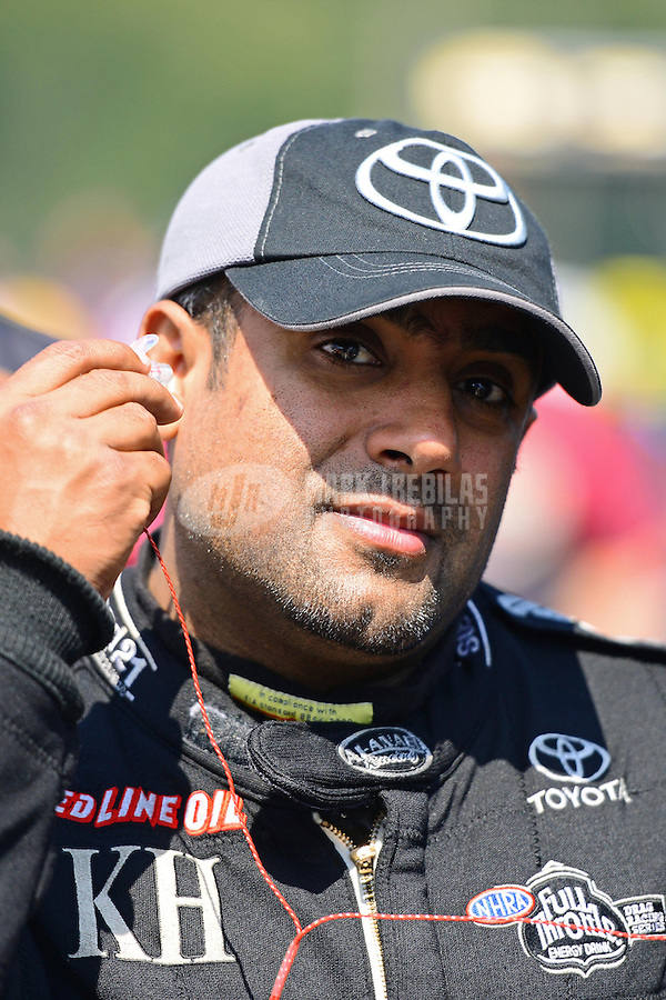 Sept. 15, 2012; Concord, NC, USA: NHRA top fuel dragster driver Khalid Albalooshi during qualifying for the O'Reilly Auto Parts Nationals at zMax Dragway. Mandatory Credit: Mark J. Rebilas-