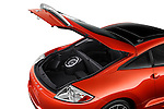 High angle rear view of a 2011 Mitsubishi Eclipse Coupe hatchback area. Use as a single frame or part of a three frame animation sequence of the hatchback open and closed.