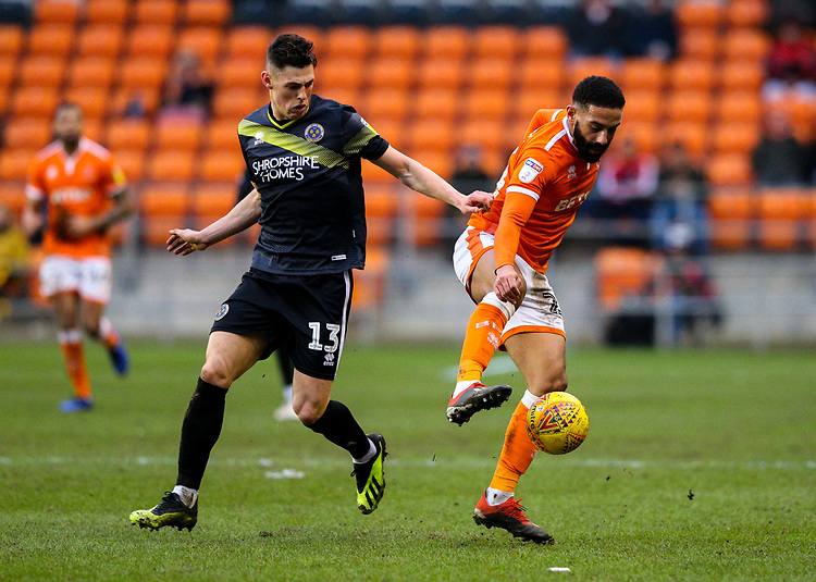Blackpool's Liam Feeney shields the ball from Shrewsbury Town's James Bolton<br /> <br /> Photographer Alex Dodd/CameraSport<br /> <br /> The EFL Sky Bet League One - Blackpool v Shrewsbury Town - Saturday 19 January 2019 - Bloomfield Road - Blackpool<br /> <br /> World Copyright © 2019 CameraSport. All rights reserved. 43 Linden Ave. Countesthorpe. Leicester. England. LE8 5PG - Tel: +44 (0) 116 277 4147 - admin@camerasport.com - www.camerasport.com