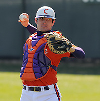Clemson catcher John Nester (17) prior to a game between the Charlotte 49ers and Clemson Tigers Feb. 22, 2009, at Doug Kingsmore Stadium in Clemson, S.C. (Photo by: Tom Priddy/Four Seam Images)