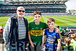Larry Long (Lyreacrompane) Laross Long (Tralee) and Tom Long (Kielduff), pictured at the Kerry v Mayo all Ireland semi-final re-play in Croke Park, on Saturday last.