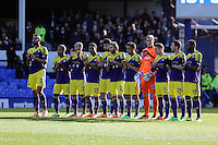 Pictured: Swansea players during a minute's applause for Sir Tom Finney before kick off. Sunday 16 February 2014<br /> Re: FA Cup, Everton v Swansea City FC at Goodison Park, Liverpool, UK.