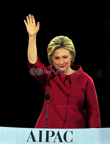 Former United States Secretary of State Hillary Rodham Clinton, a candidate for the Democratic Party nomination for President of the United States, waves to the crowd after speaking at the 2016 AIPAC Policy Conference at the Verizon Center in Washington, DC on Monday March 21, 2016.<br /> Credit: Ron Sachs / CNP/MediaPunch