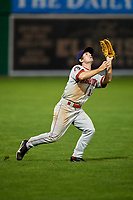 Auburn Doubledays left fielder Gage Canning (14) settles under a fly ball during a game against the Batavia Muckdogs on June 28, 2018 at Dwyer Stadium in Batavia, New York.  Auburn defeated Batavia 14-9.  (Mike Janes/Four Seam Images)