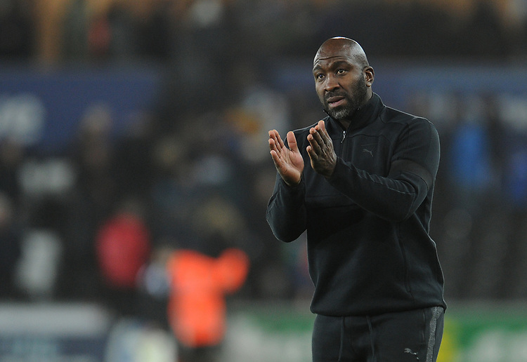 West Bromwich Albion manager Darren Moore applauds the travelling fans at full time<br /> <br /> Photographer Kevin Barnes/CameraSport<br /> <br /> The EFL Sky Bet Championship - Swansea City v West Bromwich Albion - Wednesday 28th November 2018 - Liberty Stadium - Swansea<br /> <br /> World Copyright &copy; 2018 CameraSport. All rights reserved. 43 Linden Ave. Countesthorpe. Leicester. England. LE8 5PG - Tel: +44 (0) 116 277 4147 - admin@camerasport.com - www.camerasport.com