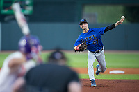 Duke Blue Devils starting pitcher Mitch Stallings (47) delivers a pitch to the plate against the Clemson Tigers in Game Three of the 2017 ACC Baseball Championship at Louisville Slugger Field on May 23, 2017 in Louisville, Kentucky.  The Blue Devils defeated the Tigers 6-3.. (Brian Westerholt/Four Seam Images)