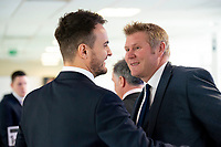 Picture By Allan McKenzie/SWpix.com - 06/04/18 - Cricket - Yorkshrie County Cricket Club Opening Season Lunch 2018 - Emerald Headingley Stadium, Leeds, England - Jack Brooks with Matthew Hoggard at the opening season lunch.