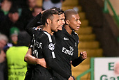 12th September 2017, Glasgow, Scotland; Champions League football, Glasgow Celtic versus Paris Saint Germain;  10 NEYMAR JR (psg) - 09 EDINSON CAVANI (psg) - 29 KYLIAN MBAPPE (psg) celebrate their first goal
