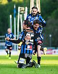 Uppsala 2015-05-21 Fotboll Superettan IK Sirius - Mj&auml;llby AIF :  <br /> Sirius Erik Figueroa firar sitt 1-0 m&aring;l med lagkamrater Johan Andersson  , Andreas Eriksson under matchen mellan IK Sirius och Mj&auml;llby AIF <br /> (Foto: Kenta J&ouml;nsson) Nyckelord:  Superettan Sirius IKS Mj&auml;llby AIF jubel gl&auml;dje lycka glad happy