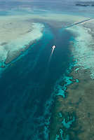 AERIAL PALAU, BOAT NEAR THE GERMAN CHANNEL