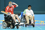 November 14 2011 - Guadalajara, Mexico: Adam Dukovich during a Boccia mathch at the 2011 Parapan American Games in Guadalajara, Mexico.  Photos: Matthew Murnaghan/Canadian Paralympic Committee