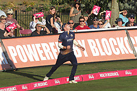 Daniel Lawrence of Essex shows some neat footwork to catch Daniel Bell-Drummond from the bowling of Adam Zampa during Kent Spitfires vs Essex Eagles, Vitality Blast T20 Cricket at the St Lawrence Ground on 2nd August 2018