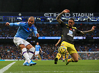 2nd November 2019; Etihad Stadium, Manchester, Lancashire, England; English Premier League Football, Manchester City versus Southampton; Danny Ings of Southampton attempts to block a shot from a narrow angle of Kyle Walker of Manchester City - Strictly Editorial Use Only. No use with unauthorized audio, video, data, fixture lists, club/league logos or 'live' services. Online in-match use limited to 120 images, no video emulation. No use in betting, games or single club/league/player publications