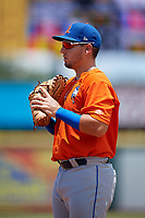 St. Lucie Mets first baseman Jeremy Vasquez (16) during a Florida State League game against the Bradenton Marauders on July 28, 2019 at LECOM Park in Bradenton, Florida.  Bradenton defeated St. Lucie 7-3.  (Mike Janes/Four Seam Images)