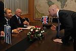 Israel's Defense Minister Ehud Barak, left, and British Foreign Secretary William Hague, right, meet in the Defense Ministry in Tel Aviv, Israel, Thursday November 4, 2010.<br /> Photographer: Ahikam Seri