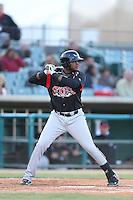 Duanel Jones #20 of the Lake Elsinore Storm bats against the Lancaster JetHawks at The Hanger on April 4, 2014 in Lancaster, California. Lake Elsinore defeated Lancaster, 6-1. (Larry Goren/Four Seam Images)