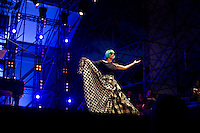 Lady Gaga performs during the Europride Rome 2011 at Circo Massimo in Rome. The gay pride was attended by nearly a million people with protests against criticism from the Vatican and Prime Minister Silvio Berlusconi's stance against homosexuality.