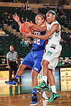North Texas Mean Green guard Desiree Nelson (32) and Texas Arlington Mavericks forward Aron Garcia (32) in action during the game between the Texas Arlington Mavericks and the North Texas Mean Green at the Super Pit arena in Denton, Texas. UTA defeats UNT 59 to 50...