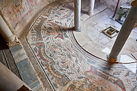 Wide picture of the Roman mosaics of the Semi Circular Room, depicting cupids fishing from boats, at the Villa Romana del Casale, first quarter of the 4th century AD. Sicily, Italy. A UNESCO World Heritage Site.