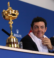 Rory McIlroy (EUR) enjoying the final European Team Press Conference after Sunday's Singles at the 2014 Ryder Cup from Gleneagles, Perthshire, Scotland. Picture:  David Lloyd / www.golffile.ie