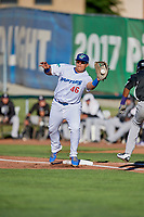 Alvaro Rubi (46) of the Ogden Raptors on defense against the Grand Junction Rockies at Lindquist Field on June 25, 2018 in Ogden, Utah. The Raptors defeated the Rockies 5-3. (Stephen Smith/Four Seam Images)
