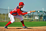 19 February 2011: Washington Nationals' pitcher Stephen Strasburg works on bunting drills at the Carl Barger Baseball Complex in Viera, Florida. Mandatory Credit: Ed Wolfstein Photo