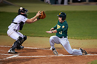 Siena Saints third baseman Jordan Folgers (12) slides home as the throw gets past catcher Austin Hale (18) during a game against the Stetson Hatters on February 23, 2016 at Melching Field at Conrad Park in DeLand, Florida.  Stetson defeated Siena 5-3.  (Mike Janes/Four Seam Images)