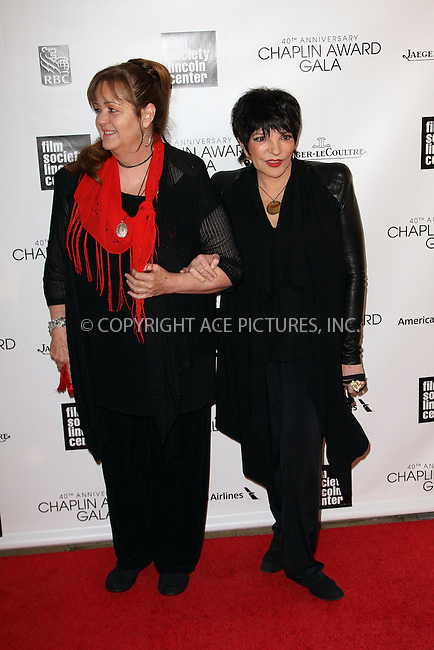 WWW.ACEPIXS.COM....April 22 2013, New York City....Liza Minnell (R) and Tina Nina Minnelli arriving at the 40th Anniversary Chaplin Award Gala at Avery Fisher Hall at the Lincoln Center on April 22, 2013 in New York City.....By Line: Zelig Shaul/ACE Pictures......ACE Pictures, Inc...tel: 646 769 0430..Email: info@acepixs.com..www.acepixs.com