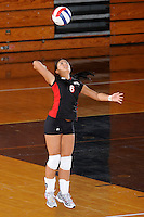 22 November 2008:  Western Kentucky University defensive specialist Lindsey Gould (6) serves during the WKU 3-0 victory over New Orleans in the championship game of the Sun Belt Conference tournament at U.S. Century Bank Arena in Miami, Florida.