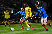 Edward Nketiah of Arsenal middle holds off Marcus Harness of Portsmouth and Steve Seddon of Portsmouth during Portsmouth vs Arsenal, Emirates FA Cup Football at Fratton Park on 2nd March 2020