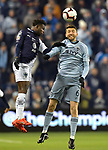 Aviles Hurtado of C.F Monterrey (L) and Ilie Sanchez of Sporting KC during their CONCACAF Champions League semifinal soccer game on April 11, 2019 at Children's Mercy Park in Kansas City, Kansas.  Photo by TIM VIZER/AFP